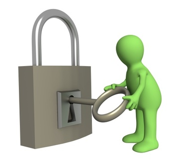 Person puppet opening lock by a key